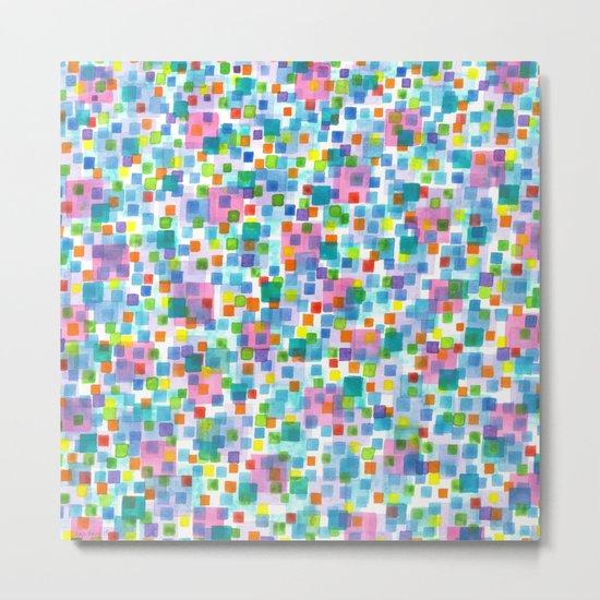 Pink beneath Square-Confetti Metal Print