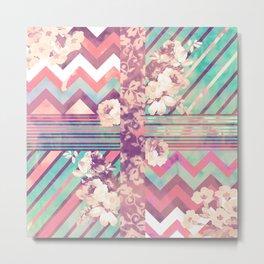 Retro Pink Turquoise Floral Stripe Chevron Pattern Metal Print