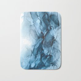 Deep Blue Flowing Water Abstract Painting Bath Mat