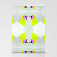 polygon Stationery Cards featuring Polygon Neon by ARTDROID
