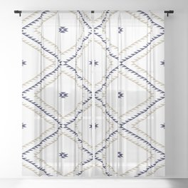 Navajo Pattern - Tan / Navy / White Sheer Curtain