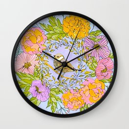 Spring Chickadee in Flowery Woodland Wreath Wall Clock