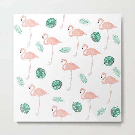 Hand painted pastel  pink flamingo tropical leaf watercolor pattern Metal Print