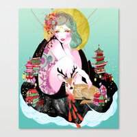fawn Canvas Prints featuring Fawn by Jessica Singh Illustration