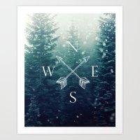 Arrow Compass in the Winter Woods Art Print