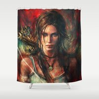 tomb raider Shower Curtains featuring Rebirth by Alice X. Zhang