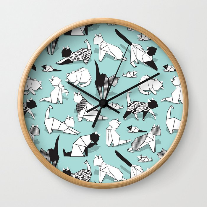 Origami kitten friends // aqua background paper cats Wall Clock