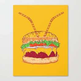 Burger for two Canvas Print