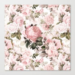 Vintage & Shabby Chic - Sepia Pink Roses Canvas Print