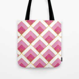 Pink and Gold Diamond Art Deco Pattern Tote Bag