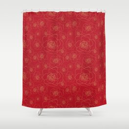 Golden Roses on Red Shower Curtain