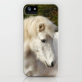 White horse in the autumn forest iPhone Case