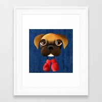 boxer Framed Art Prints featuring Boxer by Sloe Illustrations