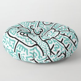 """The Face"" - inspired by Keith Haring v. teal Floor Pillow"