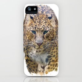 Watercolor Portrait of Leopard  on white background iPhone Case
