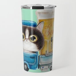 A cat in a beer truck Travel Mug