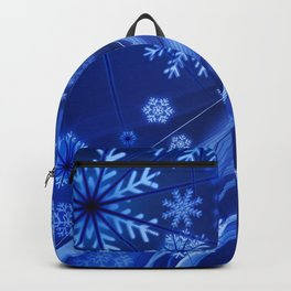 Blue Snowflakes Winter Backpack