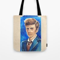 david tennant Tote Bags featuring David Tennant 10th Doctor Who by Tiffany Willis