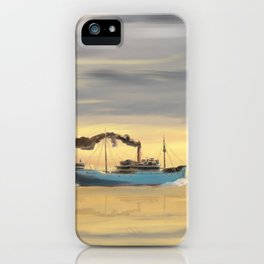 Steamship Freighter heading towards the ocean iPhone Case