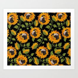 Pug Sunflowers Art Print