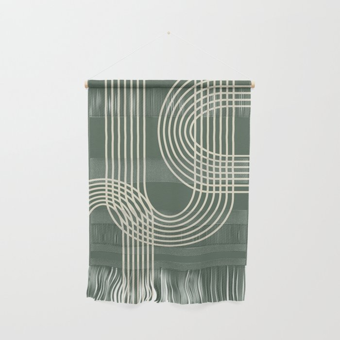 Minimalist Lines in Forest Green Wall Hanging