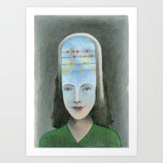 Counting head Art Print