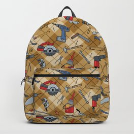 Household Tools Plaid Backpack
