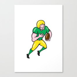 American Football Receiver Running Ball Cartoon Canvas Print
