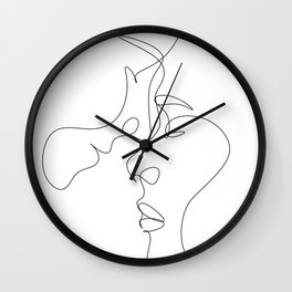We are one line,Couple print. Love poster.One Line Drawing Print, Minimal art, Line illustration,Rom Wall Clock