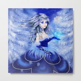 Winter queen in blue dress in the snowy forest Metal Print