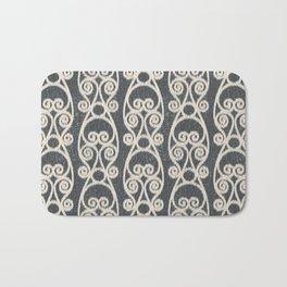 Crackled Scrolled Ikat Pattern - Ink Black Cream Bath Mat