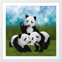 Panda Bear Cubs Love Art Print