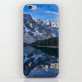 Reflections in the morning at lake Moraine iPhone Skin
