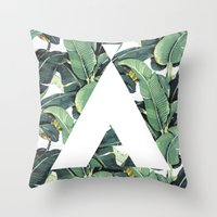 banana leaf Throw Pillows featuring Banana Leaf Love by Emily Wagner Studio