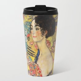 Gustav Klimt Lady With Fan  Art Nouveau Painting Travel Mug