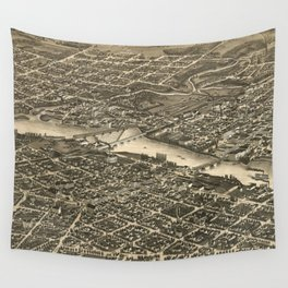 Vintage Map of Rockford Illinois (1880) Wall Tapestry