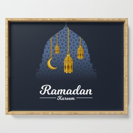 Ramadan Kareem with Crescent Moon and Lantern on The Geometry Background Serving Tray