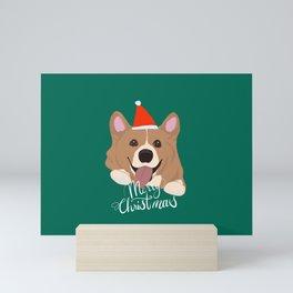 Corgi Christmas, Cute Welsh Corgi X mas deign Mini Art Print