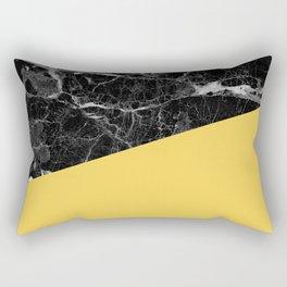 Black Marble and Primrose Yellow Color Rectangular Pillow