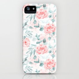 Rose Blush Watercolor Flower And Eucalyptus iPhone Case