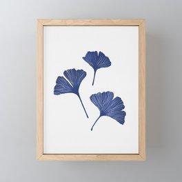 Blue Ginkgo Biloba Pattern Framed Mini Art Print