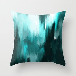 Ocean Water - an Aqua Blue Abstract painting with White Throw Pillow