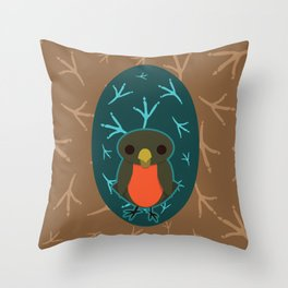 Robin with Foot Prints Throw Pillow