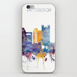 Watercolor cityscape of Pittsburgh iPhone Skin