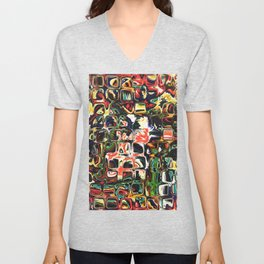 Abstract Blocks of Color Unisex V-Neck