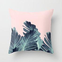 Blush Navy Blue Banana Leaves Dream #1 #tropical #decor #art #society6 Throw Pillow
