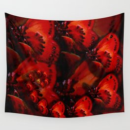 Inner Glow 4 Spiral Red Wall Tapestry