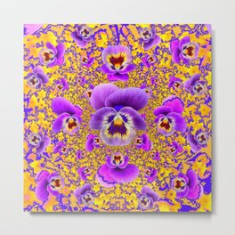 MODERN ART PURPLE-GOLDEN GARDEN PANSIES Metal Print