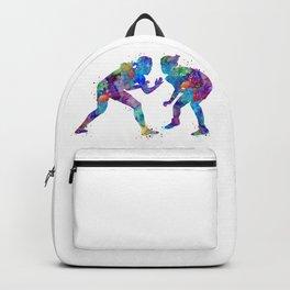 Female Wrestlers Watercolor Silhouette Backpack