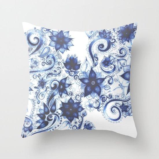 Ballpoint Florals Throw Pillow